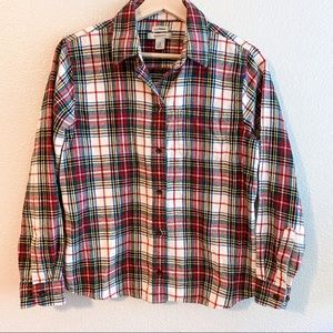 L.L Bean Relaxed Fit Plaid Flannel Button Long Sleeve